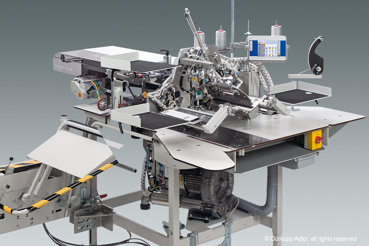 Tam otomatik besleme ve kare tutturma sistemli, CNC step motor teknolojisine sahip düz ve eğik cep fleto dikiş üniteleri